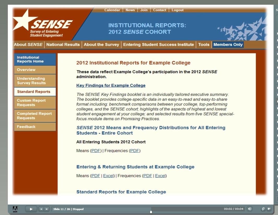 Interpreting SENSE Key Findings
